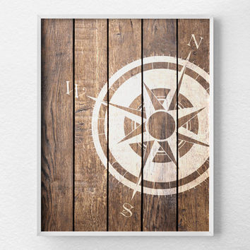 Nautical Compass, Compass Print, Nautical Decor, Rustic Nautical Print, Beach Decor, Nautical Compass Art Print, Beach Art, 0286