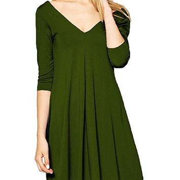 Womens 3/4 Sleeve Sexy V neck Open Back Cocktail Causal Dress