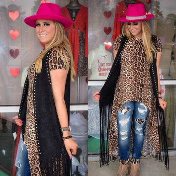 Black stella studded duster