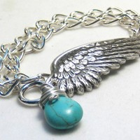 Turquoise Angel Wing Chain Wrap Bracelet | eponasjewels - Jewelry on ArtFire
