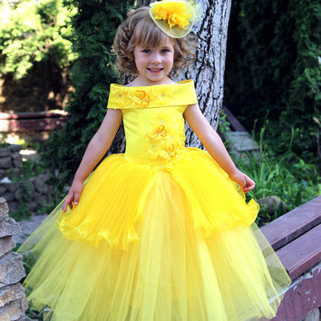 Yellow Flower Girls Dress - Birthday Wedding Party Holiday Bridesmaid Yellow Tulle Dress