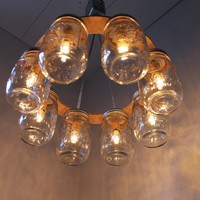 Mason Jar Chandelier Mason Jar Light WAGON WHEEL by BootsNGus