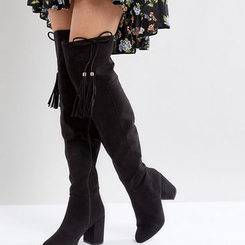 New Look Tassel Over The Knee Boot at asos.com