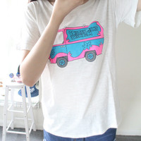 White Pink Bus Printed Tee