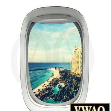 Beach Resort Aerial View Airplane Window Decal Vinyl Decal View Mural Peel and Stick Aviation Decor VWAQ-PW14
