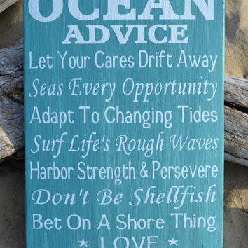 Beach Decor - Beach Wedding - Wood Sign - Ocean Advice - Teal Mint Green - Coastal Nautical Wedding Home Decor - Weathered Reclaimed Wood