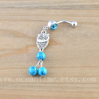 owl Belly Button Rings,owl Navel Jewlery,belly ring,blue turquoise,cute owl,summer jewelry,friendship gift
