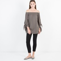 Avery Off-Shoulder Tie Blouse (Olive)