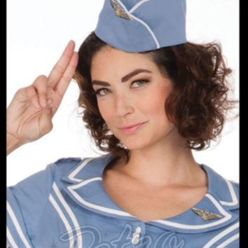 Retro Glam - Voodoo Vixen Blue Airline Hat