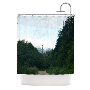 "Robin Dickinson ""Go Get Lost"" Forest Green Shower Curtain"