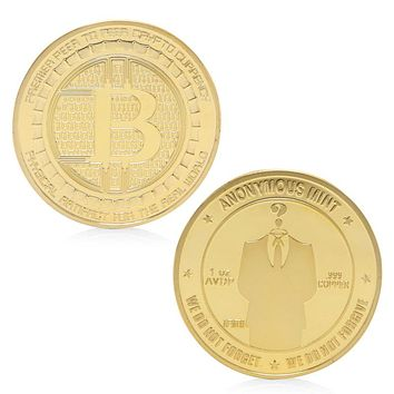 Gold Plated Anonymous Mint Bitcoin Commemorative Coins
