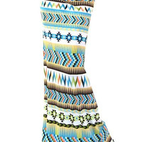 High Waist Tall Tribal Print Stretch Maxi Skirt