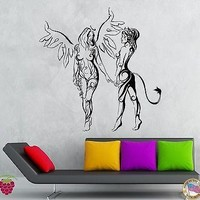 Wall Stickers Vinyl Decal Hot Sexy Girls Angel And Demon Bedroom Decor Unique Gift (z1934)