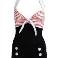 Pinupclothingonline Stripe Black Retro Pin up Women's Swimsuit Swimwear