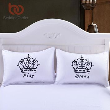 BeddingOutlet 2 Pieces Royal Crown Pillow Cases Queen and King Designer Pillow Covers Decorative Couple Pillow Shams for Gift
