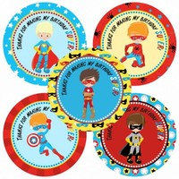 Superhero Thank You Stickers for Boy's Birthday Party Favor Labels - Set of 30