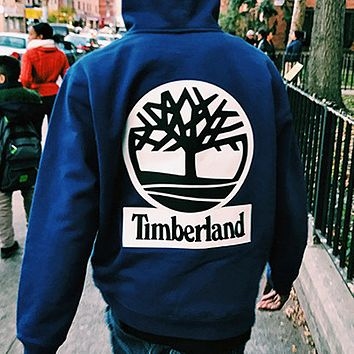 Timberland autumn and winter tide brand classic hooded hood hooded sweater Dark blue