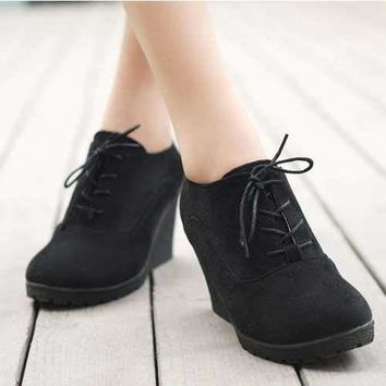 High Heel Wedges Platform Pumps Women Lace up Casual Woman Fashion Comfortable High Quality Footwear
