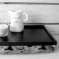 Supermarket:  Laptop Lap Desk or Breakfast serving Tray - L size - Black and White Paisley print - Custom Order from EJ butik