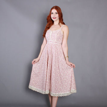 70s GUNNE SAX Sun DRESS / 1970s Pink Floral Corset Laced Full Skirt Midi