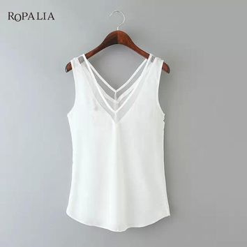 2017 Summer Vest V-Neck Splice Large Size Female Chiffon Sexy Vests New Solid Color Tank Tops