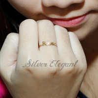 Handcrafted Personalized Name Ring - Bridesmaids Gift  -  18K Gold Plated