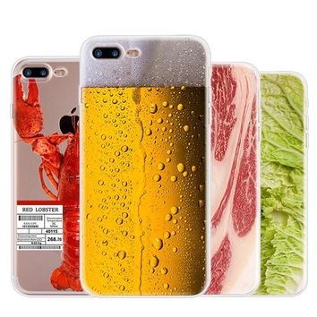 Soft TPU Clear Phone Case for iPhone 5 5S SE 6 6S 7 8 Plus X Ultra Slim Funny Beef Drink Beer Lobster Transparent Silicone Cover