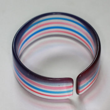 Lucite Cuff Bracelet Red Blue and Clear Vintage Smaller Wrist Size