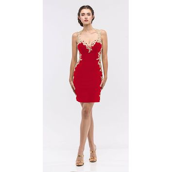 Lace Applique Sweetheart Neckline Bodycon Short Prom Dress Red/Gold