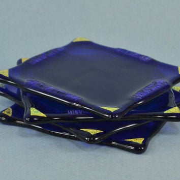 SOLD - Cobalt Blue Glass with Gold Dichroic Accents Coaster / Tile, set of 4