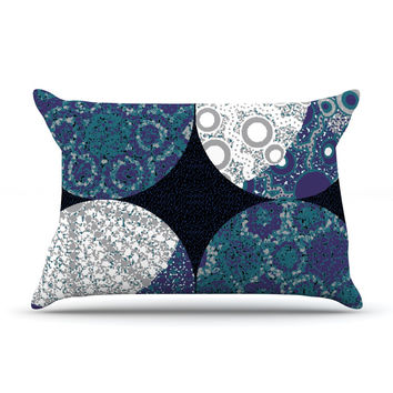 "Laura Nicholson ""Moons"" Blue Gray Pillow Case"