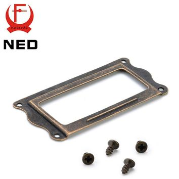 NED Antique Brass Handle 64*32mm Label Pull Frame File Name Card Holder Cabinet Drawer Box Case Knobs For Furniture Hardware