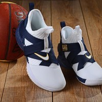 """NIKE LeBron Soldier 12 """"White&Navy"""" Basketball Shoes"""
