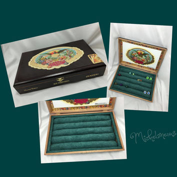 Custom San Cristobal Ovation Cigar Box Jewelry Box Ring Stud Earring & Cuff Link Holder Ring Cufflink and Jewelry Display by Michelaneous