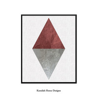 Triangle Print, Geometric Wall Art, Scandinavian Art, Minimalist Modern Design, Nordic, Carmine Grey Home Decor, Printable Instant Download