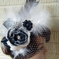 Black & White Feather Fascinator  Wedding Hairpiece Birdcage Veil