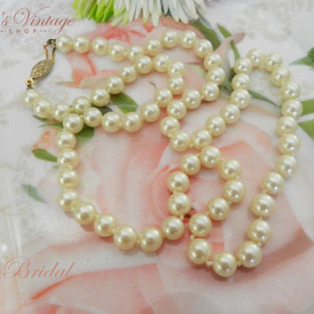 Vintage Hand Knotted Faux Pearl Necklace, Single Strand Pearl Necklace, Bridal Fashion Jewelry