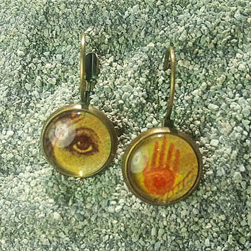 Bronze-finish Lever-back Earrings with Hand & Eye Under Glass - WITH GIFT CARD