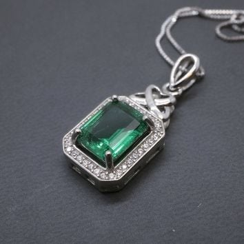 Emerald Necklace - White Sapphire Accent Sterling Silver Green Emarald Pendant Luxury Green Emerald Cut May Birthstone