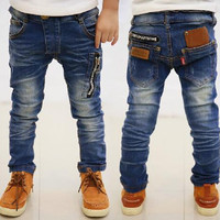 2016 New spring autumn children's clothing boys casual jeans children trousers baby pants retail size 4-11years old