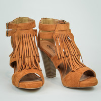 Fringe Heels in Taupe