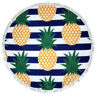 Striped Navy Pineapple Round Beach Towel Roundie Blanket
