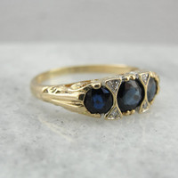 Vintage Sapphire Anniversary Ring with Filigree Undercarriage, Victorian Revival Style 9KLXY4-N