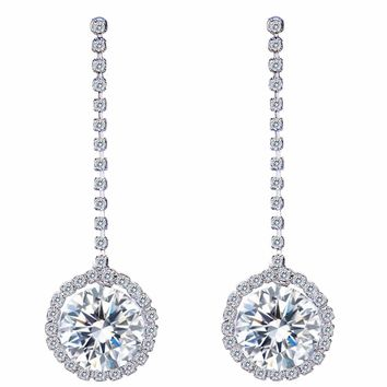 Bella Fashion Sparkling Halo Bridal Earrings Round Cubic Zircon Dangle Earrings For Wedding Bridesmaid Party Jewelry Gift