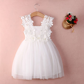 New Baby Girls Party Lace Tulle Flower Gown Fancy Bridesmaid Dress
