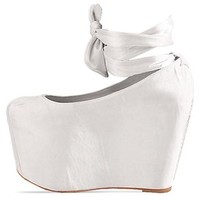 Jeffrey Campbell X Wildfox Ballet Platform in Satin White at Solestruck.com