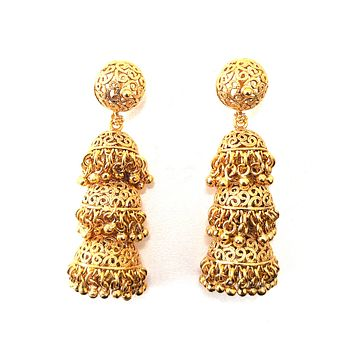 Filigree style triple layer jhumka earring