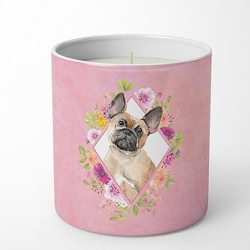 Fawn French Bulldog Pink Flowers 10 oz Decorative Soy Candle CK4238CDL