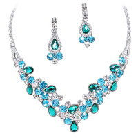 Elegant Multi Turquoise & Sky Blue V-Shaped Garland Prom Bridesmaid Necklace Set K4