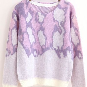 Pink Purple Leopard Print Pull Yarn Pullover Sweater